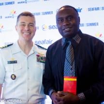 Davies Chirwa with Northwest Regional U.S Navy Commander