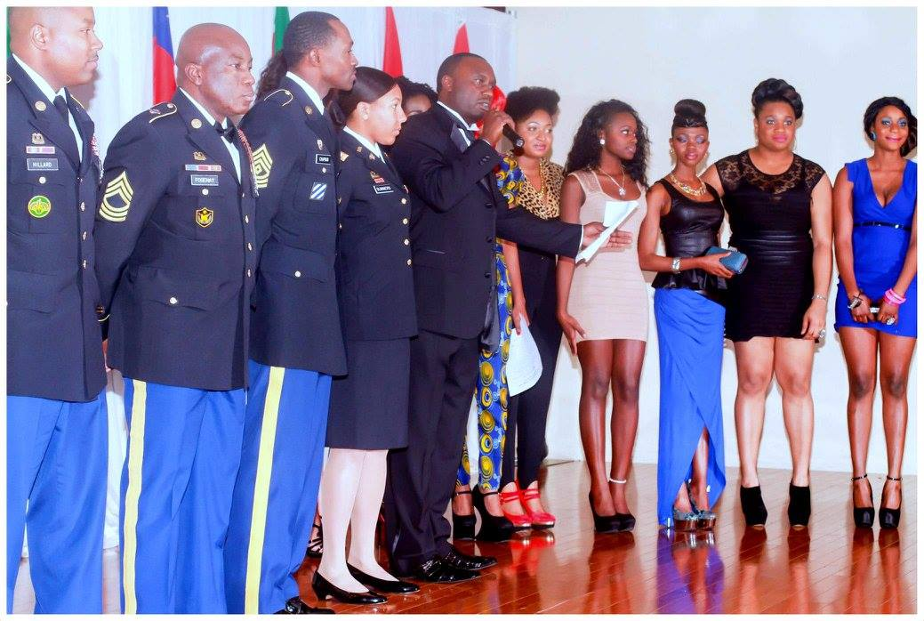 Davies Chirwa working with young African Women and the U.S Troops during the Northwest African Queen Pageant