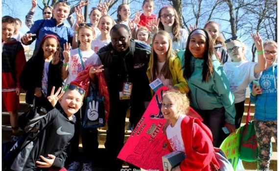 Davies Chirwa - Working with Children at WE DAY in Seattle