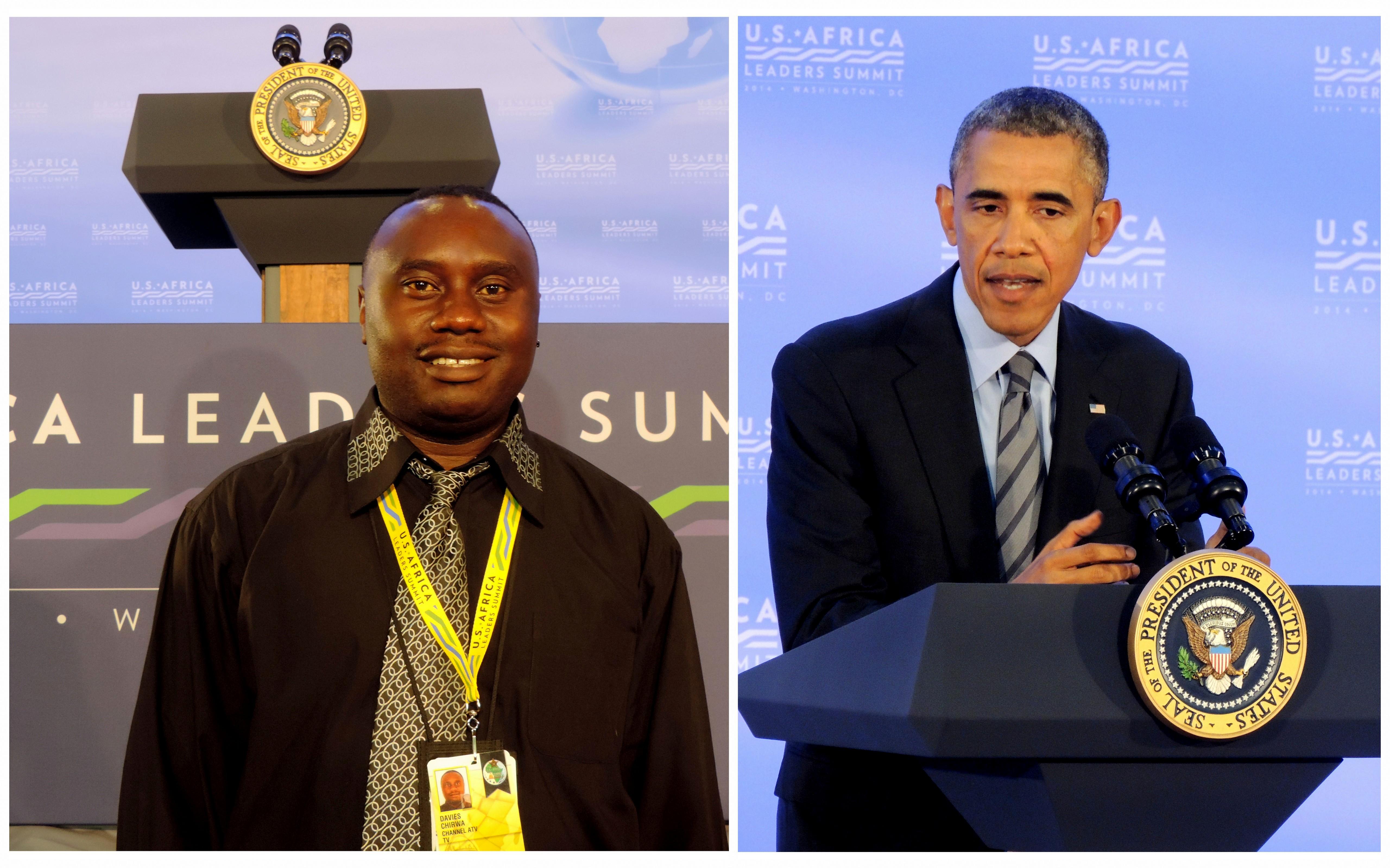 Davies Chirwa waiting to film President Obama in Washington DC.